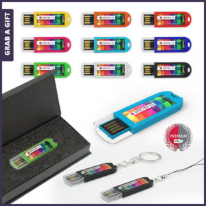 Grab a Gift - USB Spectra V2 bedrukken met logo op Full Colour Doming
