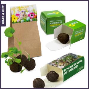 Grab a Gift Flower-Balls - Bloemballetjes in doosje of zakje met bedrukte kopkaart
