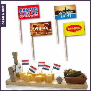 Grab a Gift - Partyprikkers – Kaasprikkers – Snackprikkers met bedrukt vlaggetje