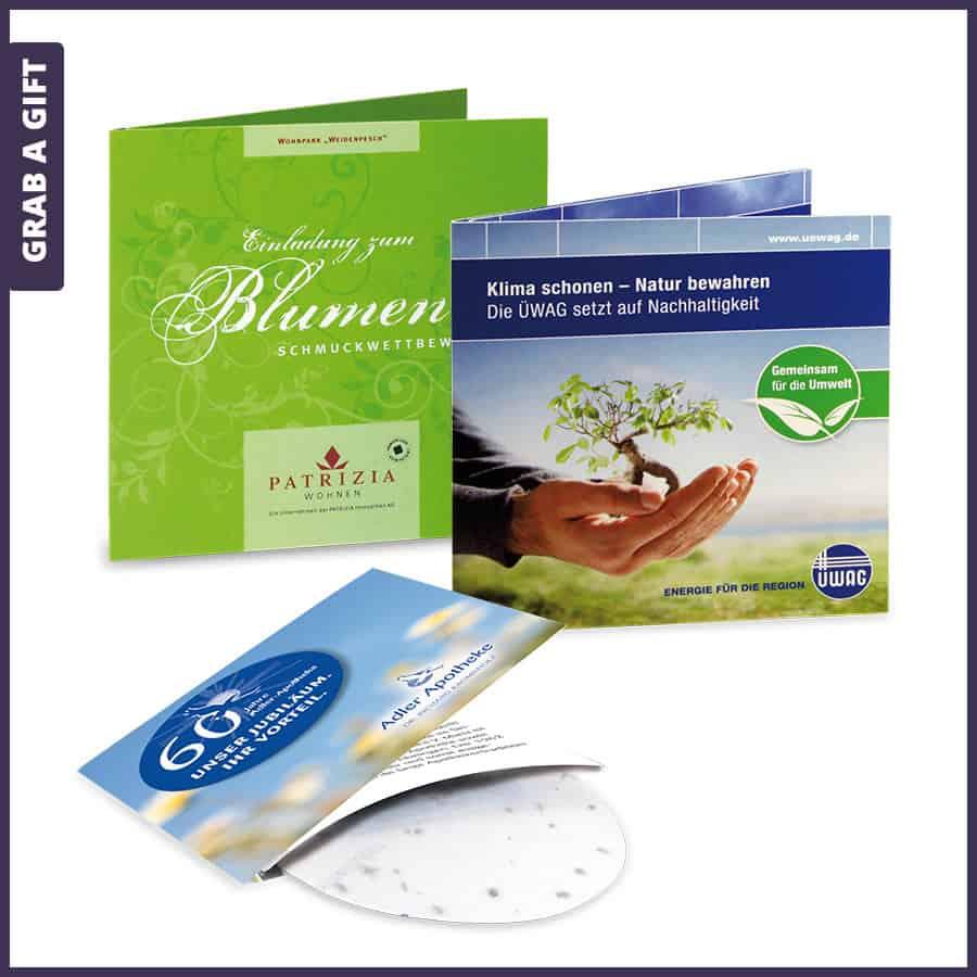 Grab a Gift - groene kaart bedrukken met zaadpapier