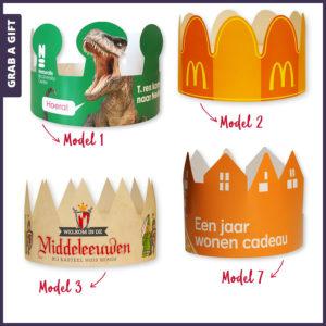 Grab a Gift - Kartonnen kroontjes bedrukken met logo
