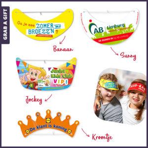 Grab a Gift - Kartonnen zonnekleppen en kroontjes bedrukken met logo