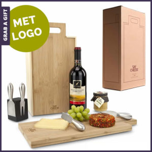 Grab a Gift - Say Cheese wijnkistje van RackPack graveren met logo