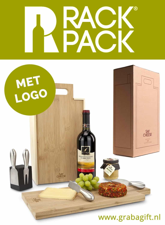 RACKPACK SAY CHEESE Wijnkist met logo gravering