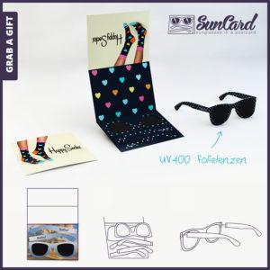 Grab a Gift - zonnebril kaart suncard met full colour bedrukking aan beide zijdes