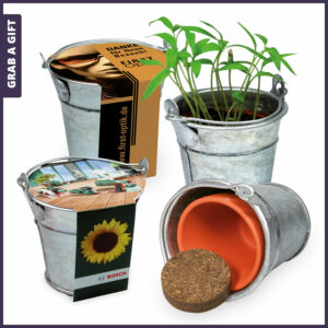 Grab a Gift Mini Plant-Bucket - Metalen palnt-emmertje met logo op wikkel