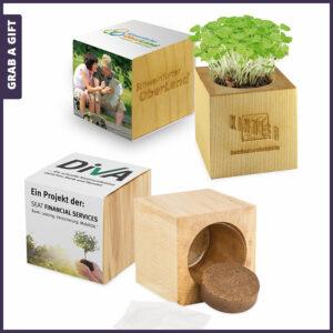 Grab a Gift Plant-Wood - bloempotje van hout met logo en zaadjes naar keuze