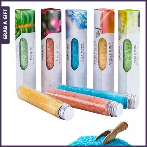 Grab a Gift - Kokertje badzout in doosje met logo opdruk