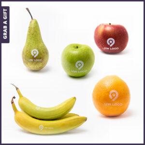 Grab a Gift - Fruit bedrukken met logo (appels, peren, bananen en sinaasappels)