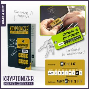 Grab a Gift - Bedrukte kryptonizer op bedrukt vouwkaartje in polybag