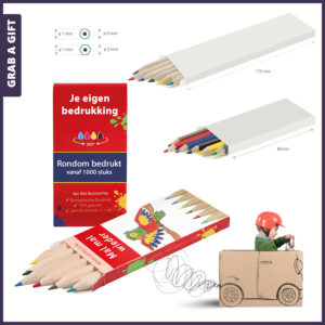Grab a Gift - set van 6 kleurpotloodjes in rondom bedrukt doosje met logo