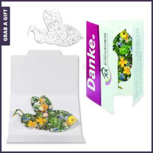 Grab a Gift - Bedrukt kaartje met zaadpapier in de vorm van een bij