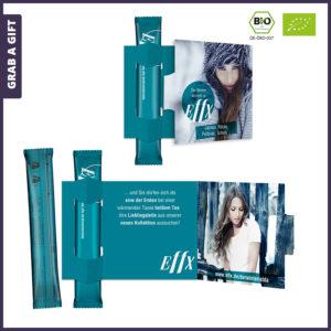 Grab a Gift - Theestaafje met logo in klapkaart met Full Colour Bedrukking