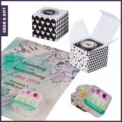 Grab a Gift - lippenboter cube verpakken in FC doosje of Fc kaart