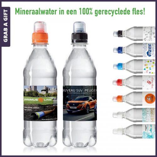 Grab a Gift - Etiketten bedrukken met logo van gerecyclede waterflesjes 500 ml sportdop