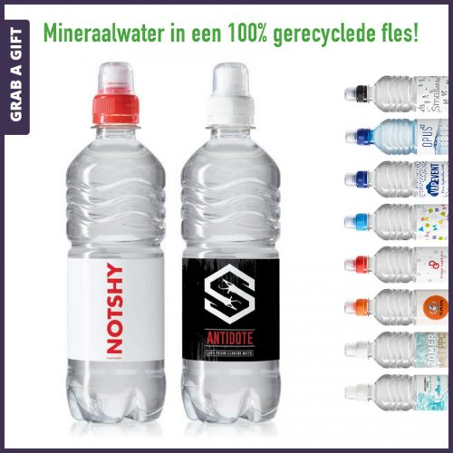 Grab a Gift - Etiketten bedrukken met logo van geribbelde waterflesjes 500 ml sportdop