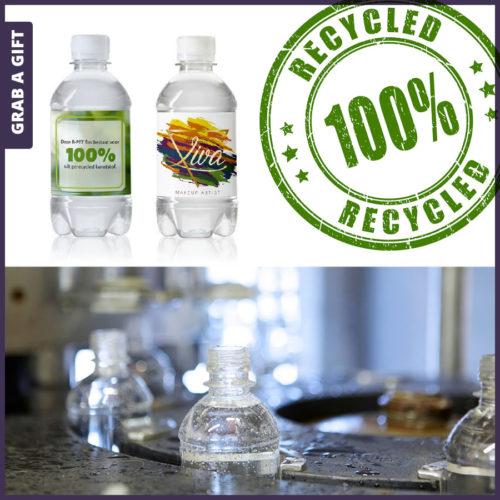Grab a Gift - Etiketten gerecyclede waterflesjes 330 ml met schroefdop bedrukken met logo