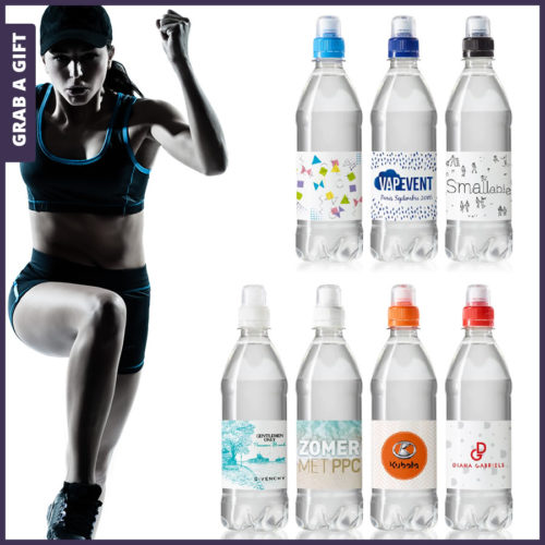 Grab a Gift - Etiketten waterflesjes 500 ml met sportdop bedrukken met logo