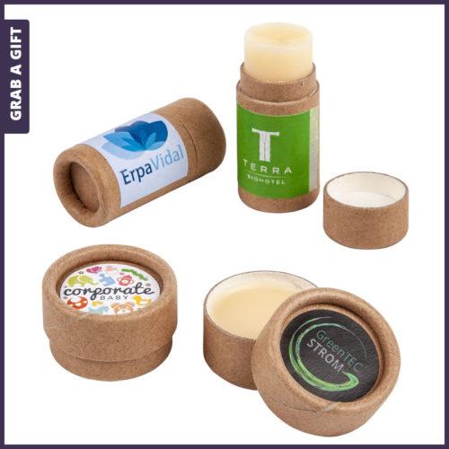 Grab a Gift - Lippenbalsem ECO bedrukken met logo op papieren etiket