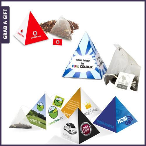 Grab a Gift - Piramidevormig doosje met piramidezakje thee bedrukken met logo