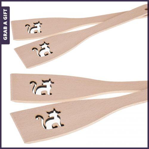 Grab a Gift - Houten spatels met lasergesneden kat en lasergravering in steel
