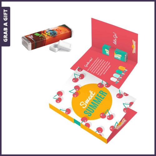 Grab a Gift - Vouwkaart met vierkant rolletje pepermunt bedrukken