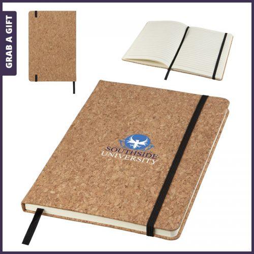 Grab a Gift - Kurken notitieboek met logo als relatiegeschenk