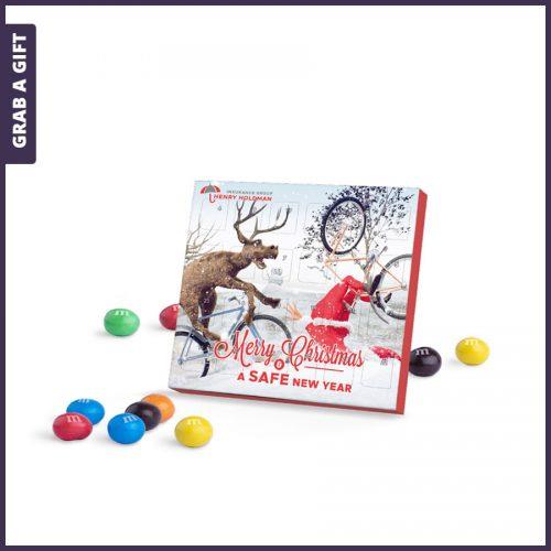 Grab a Gift - Mini adventskalender met M&M's bedrukken als kerstkaart