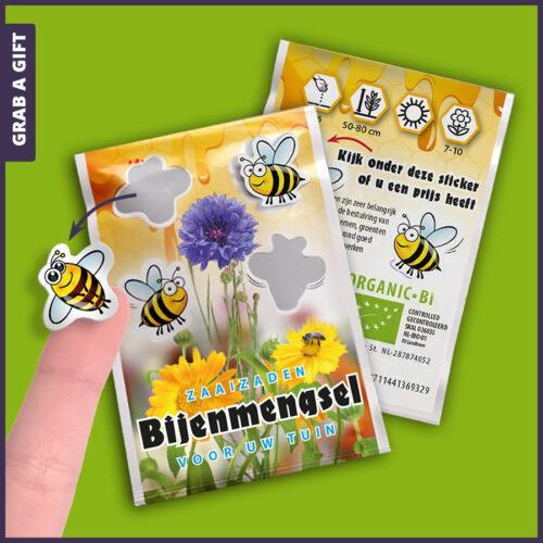 Grab a Gift - Zaadzakjes met stickertjes volledig naar wens bedrukken met logo en reclame