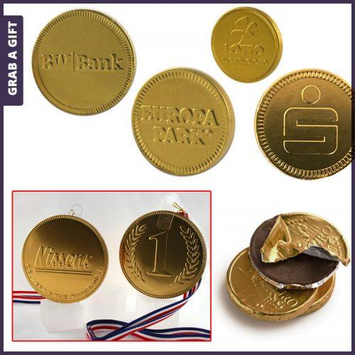 Grab a Gift - chocolade munten bedrukken met logo in relief