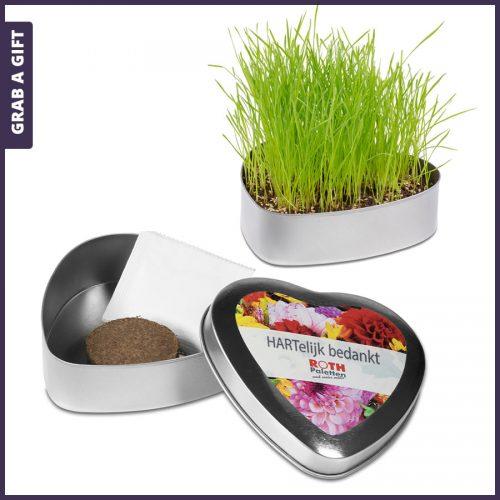 Grab a Gift - Hartvormig metalen blikje met bloemzaadjes bedrukken