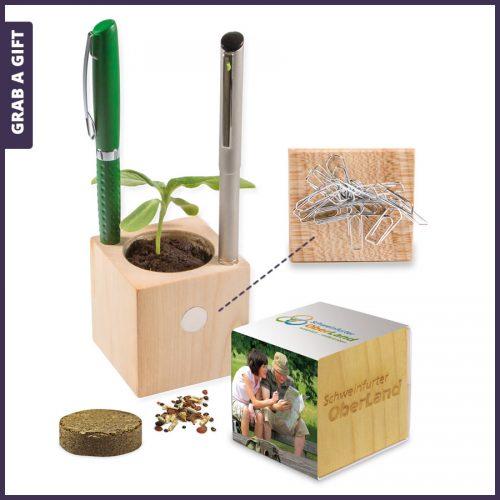 Grab a Gift - Houten bloempotje met pennengaten als relatiegeschenk