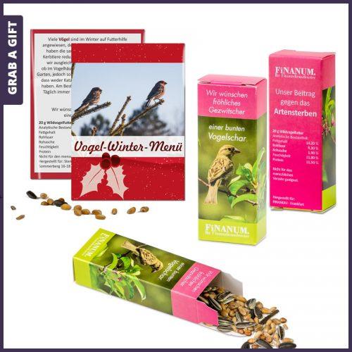 Grab a Gift - Zakje of doosje vogelzaad bedrukken met logo of reclame