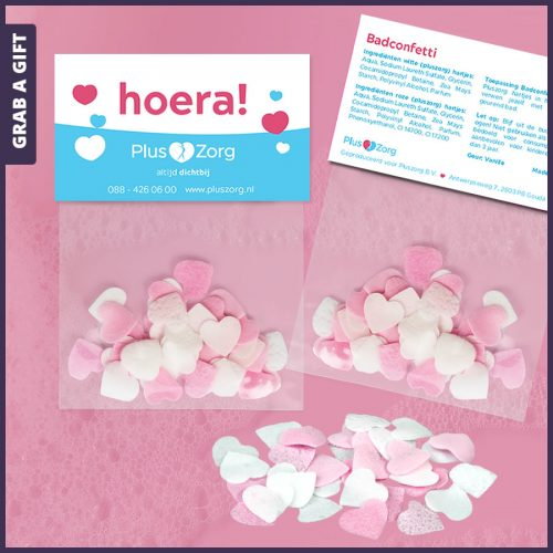 Grab a Gift - Badconfetti in hartjes-vorm met Full Colour bedrukte kopkaart