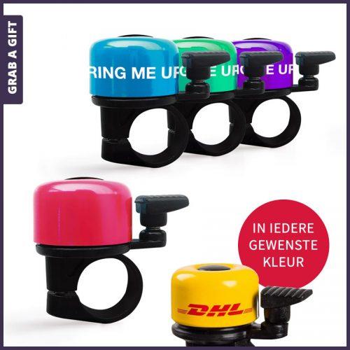 Grab a Gift - Kleine fietsbel rondom bedrukken in 1 kleur als relatiegeschenk