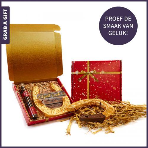 Grab a Gift - Kerstthee en Chocolade hoefijzer in verzenddoosje