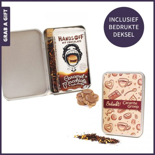 Grab a Gift - bedrukt geschenkblikje met hands off chocola en thee